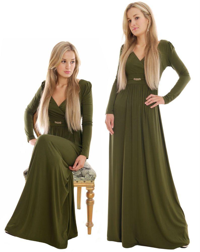 langes kleid herbstkleid langer arm maxikleid olive laenge