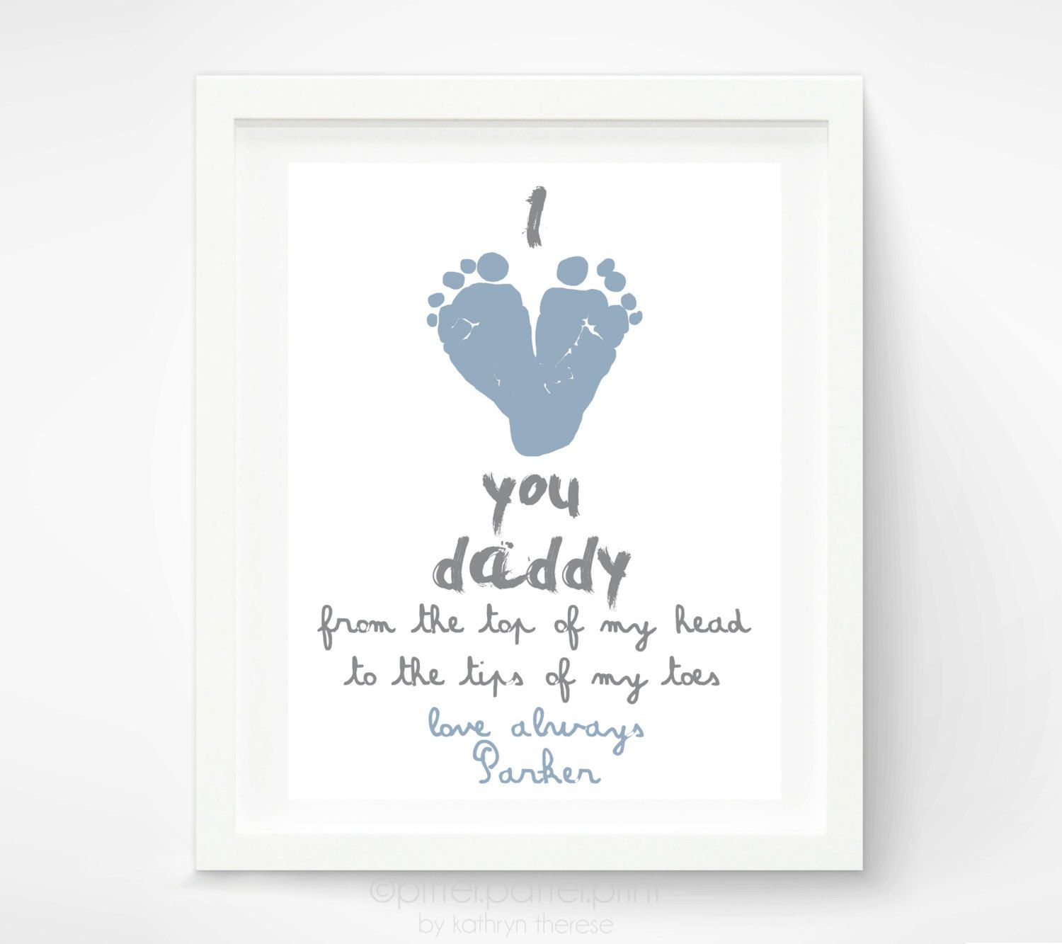 New Baby Gifts For Dad Part - 19: Personalized Fatheru0027s Day Gift For New Dad - I Love You Daddy Baby  Footprint Art Print