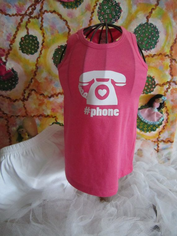 Phone  Hot Pink Racer Back Top and White by ZarahMarieDesigns #vintage #phone