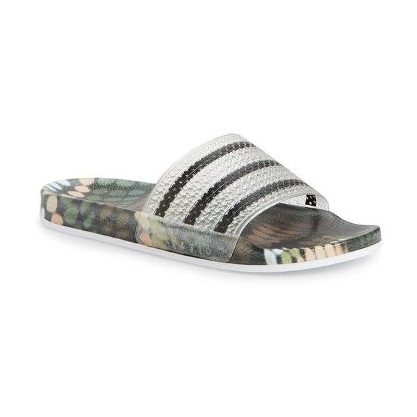 580ae6ce6fa Women s Adidas  Adilette Supercloud Plus  Print Slide Sandal ( 40) ❤ liked  on Polyvore featuring shoes