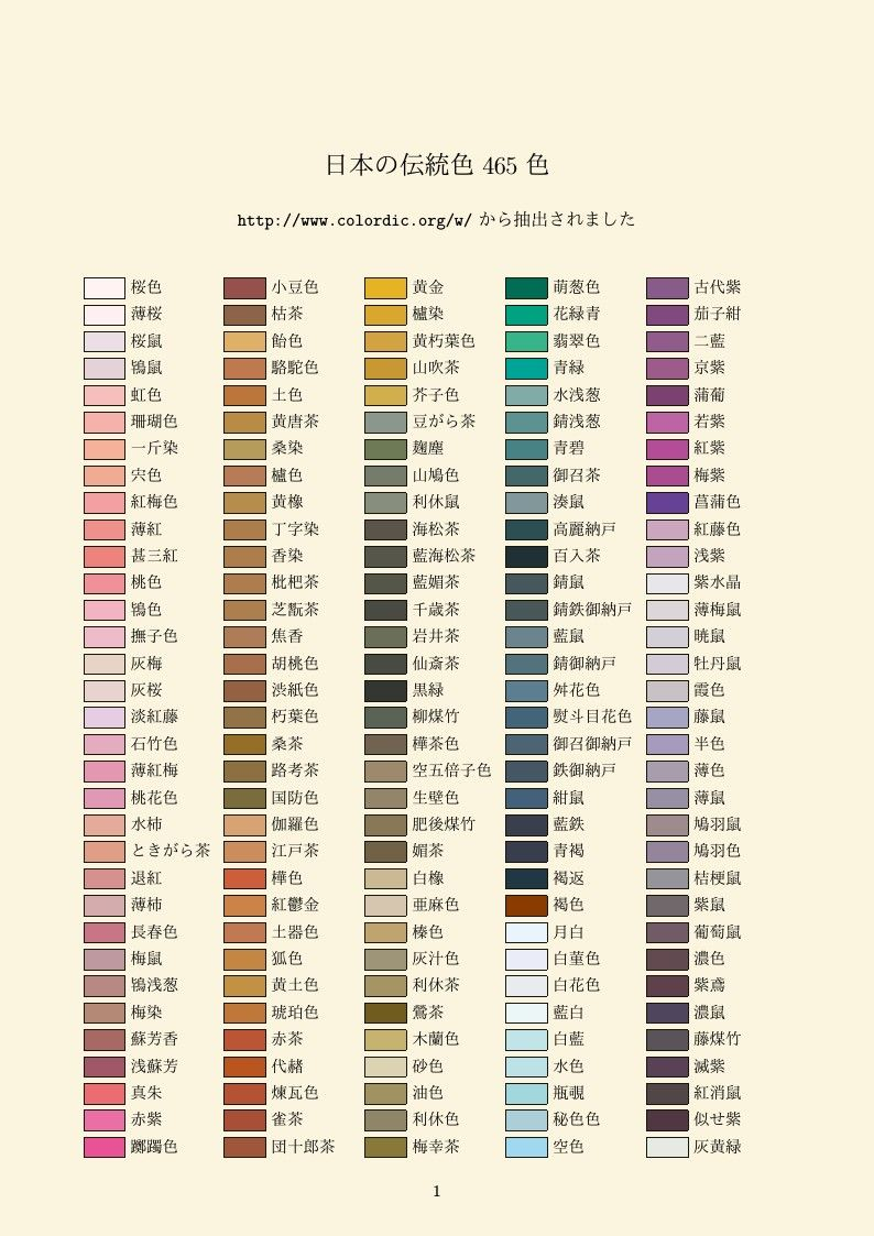 Chinese & Japanese Traditional Colour Names デザイン 勉強, 色, 色相 環