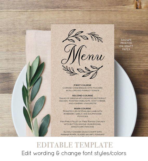 Menu Card Template, Printable Wedding Menu, Dinner Menu, Editable ...