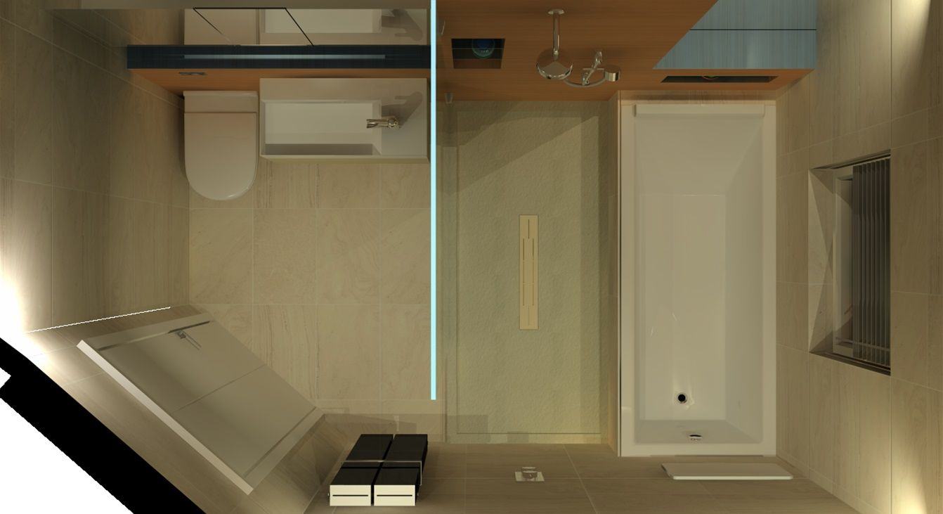 Bird 39 s eye view of bathroom contains 1750x850mm for View bathroom designs