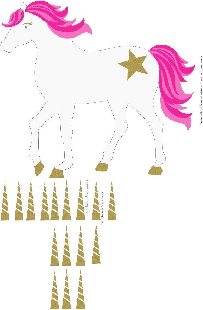 Adaptable image with pin the horn on the unicorn printable