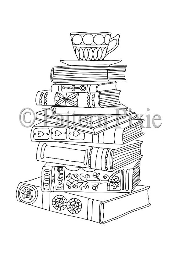Stacked Books Adult Colouring Page Coloring Pages Coloring Book
