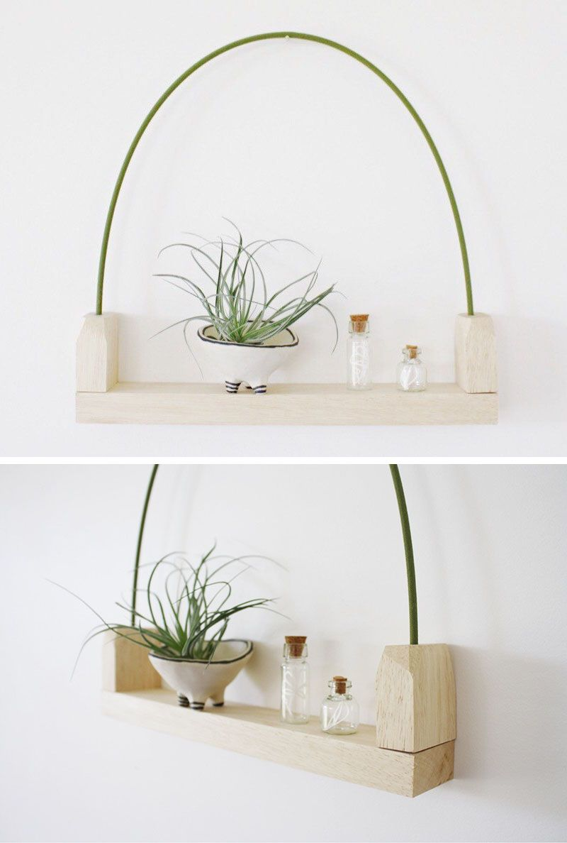 This modern hanging wall shelf made from