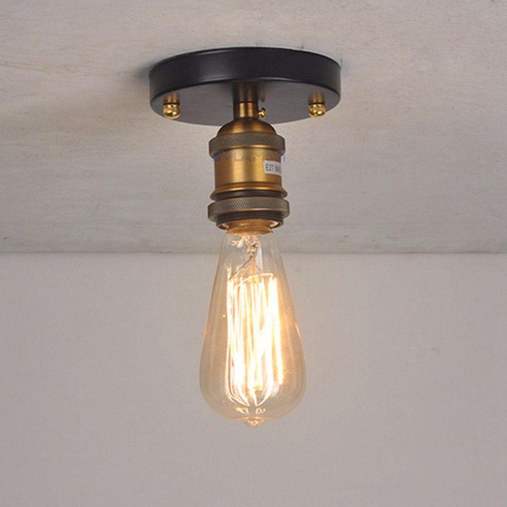 Find More Ceiling Lights Information About Vintage Loft Ceiling Light Flush Mounted Lighting E27 Metal Small Metal Ceiling Lighting Ceiling Lights Ceiling Lamp