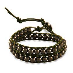 Chen Rai Hematite Green Wrap Bracelet