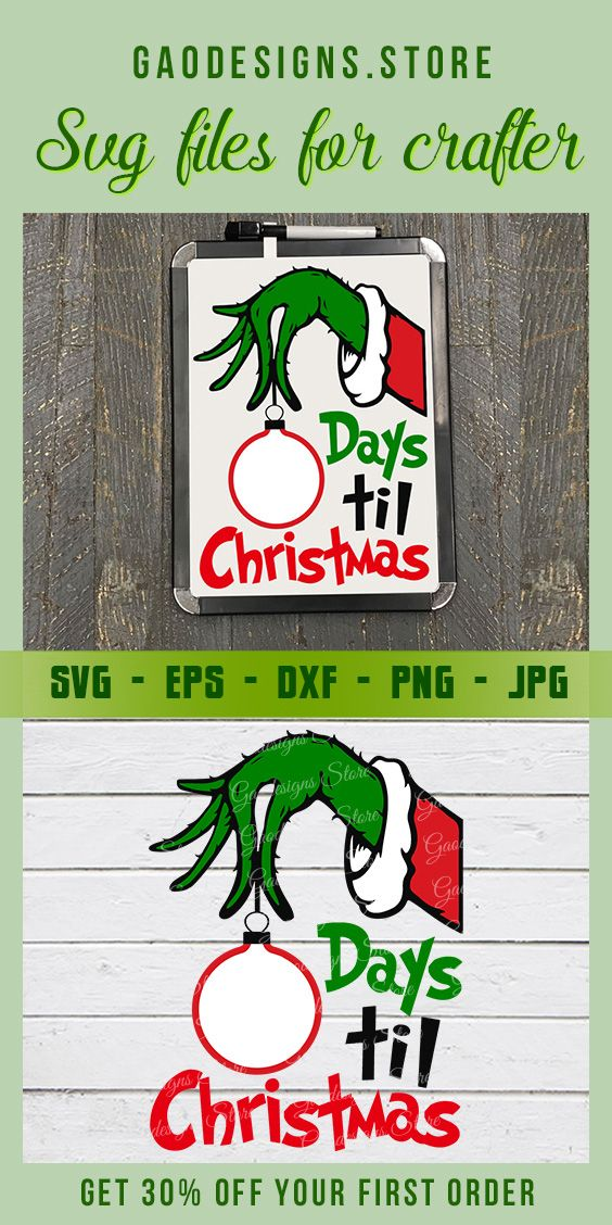 Grinch Hand Countdown Days Until Christmas SVG File