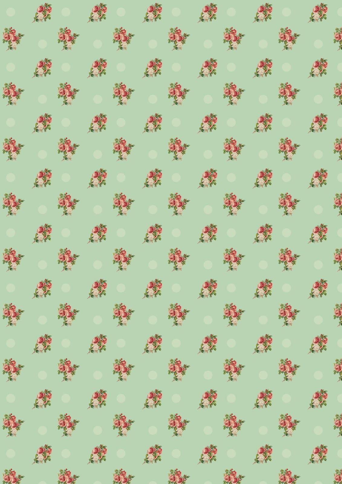 Free printable floral vintage rose pattern paper with for Digitale weihnachtskarten gratis