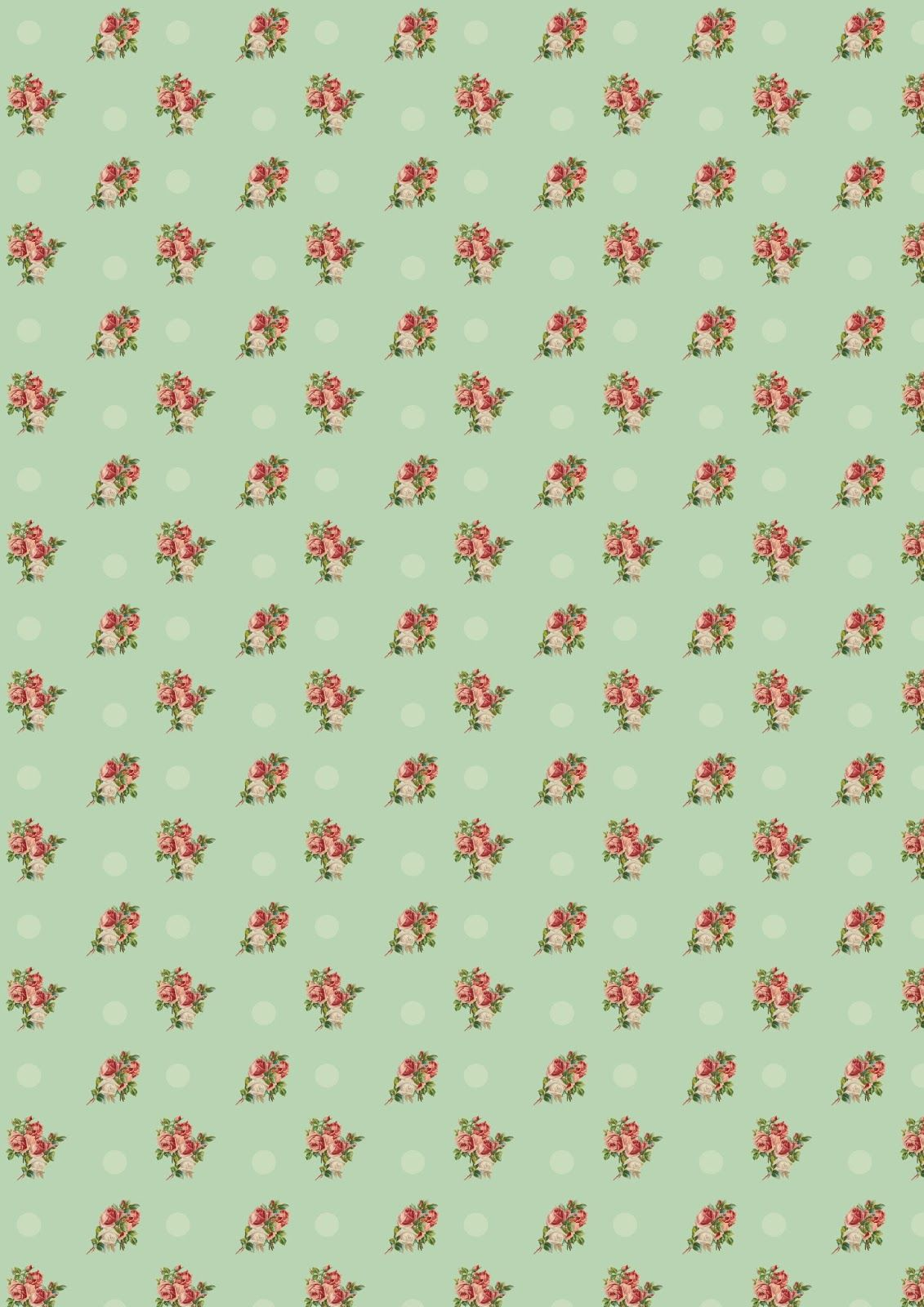 free printable floral vintage rose pattern paper with polka dot