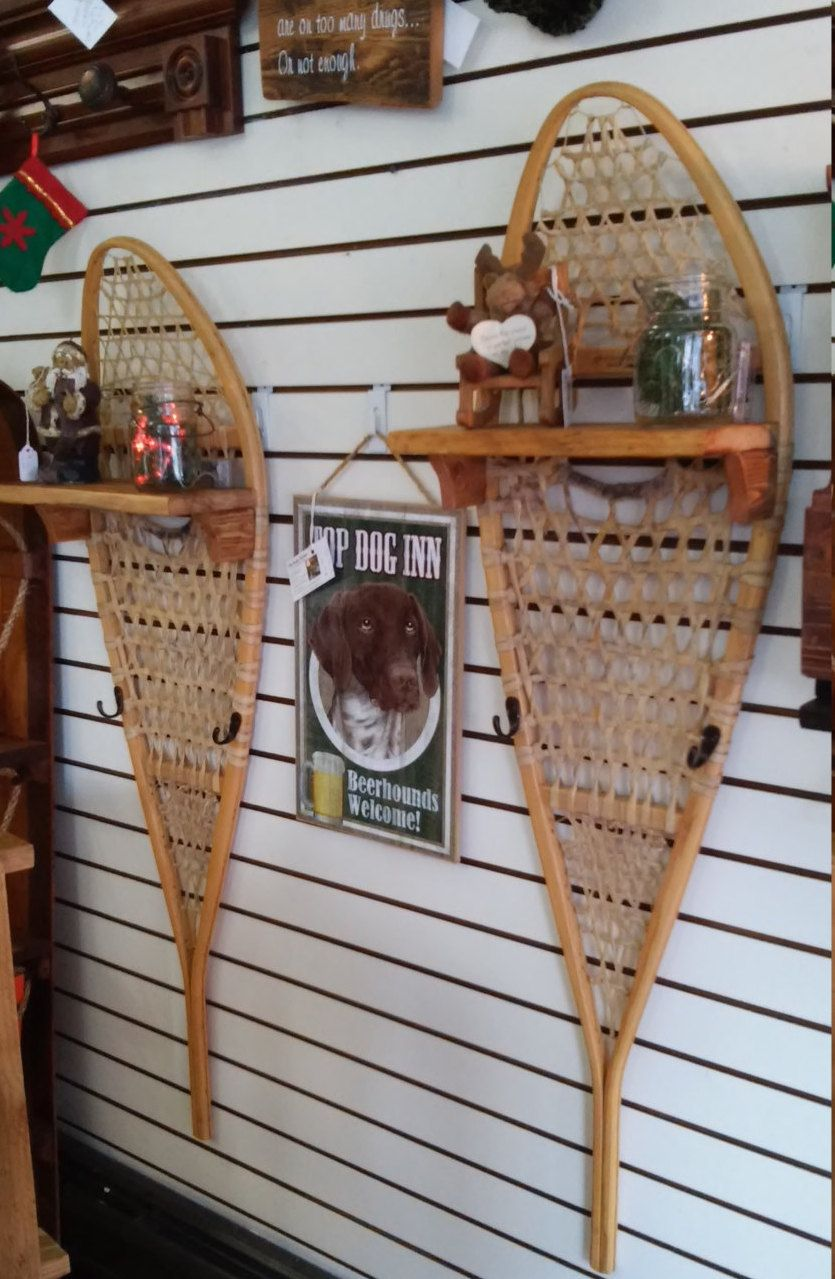 Unique Christmas Gift Snowshoes Upcycled Into Hanging Coat Racks And Wall Shelves Rustic Cottage Chic Farm House Home Decor
