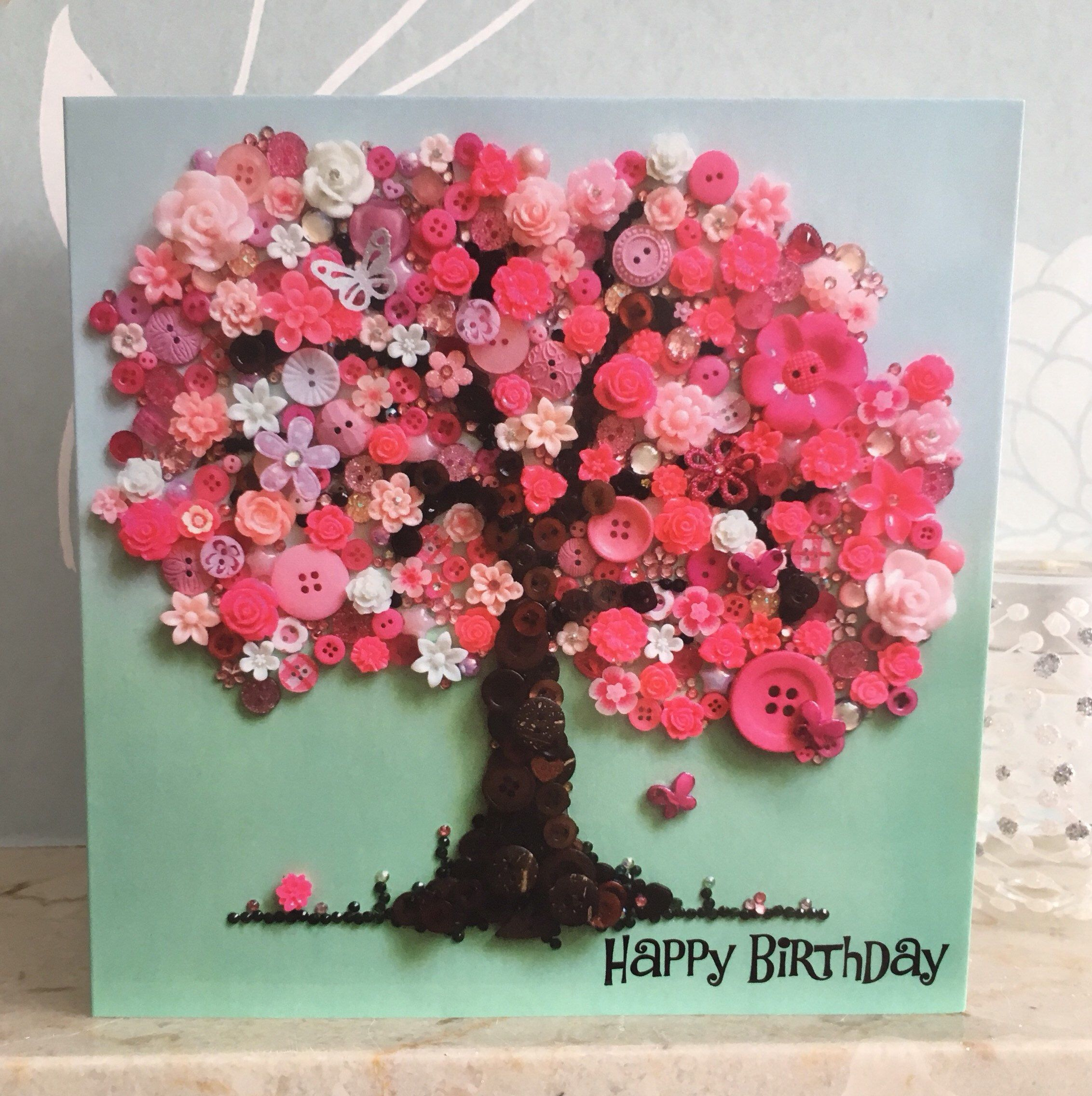Blossom Tree Card Tree Print Card Pink Tree Card Pretty Etsy Birthday Poster Diy Tree Cards Button Crafts