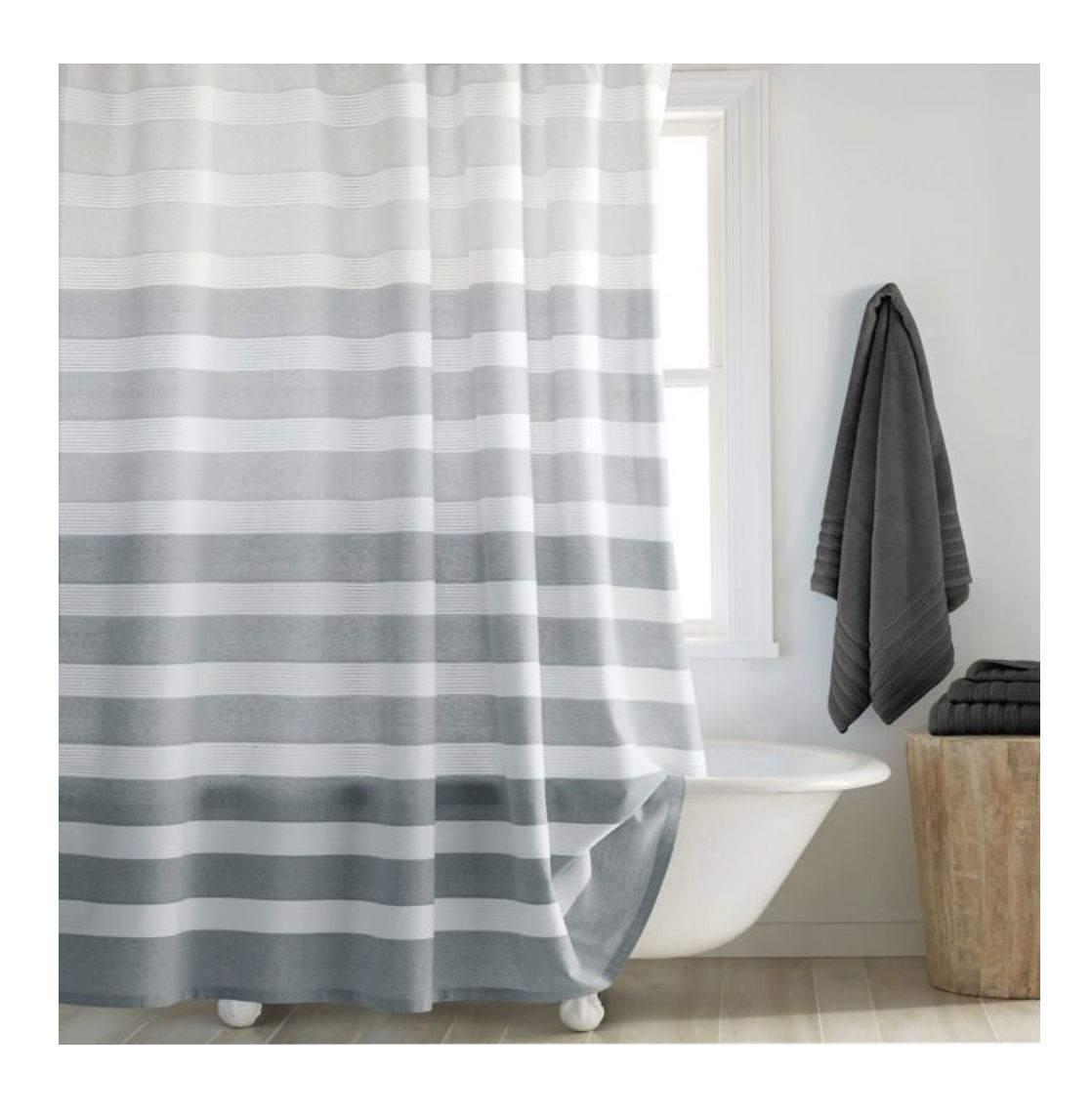 Dkny Highline Stripe Shower Curtain With Images Long Shower
