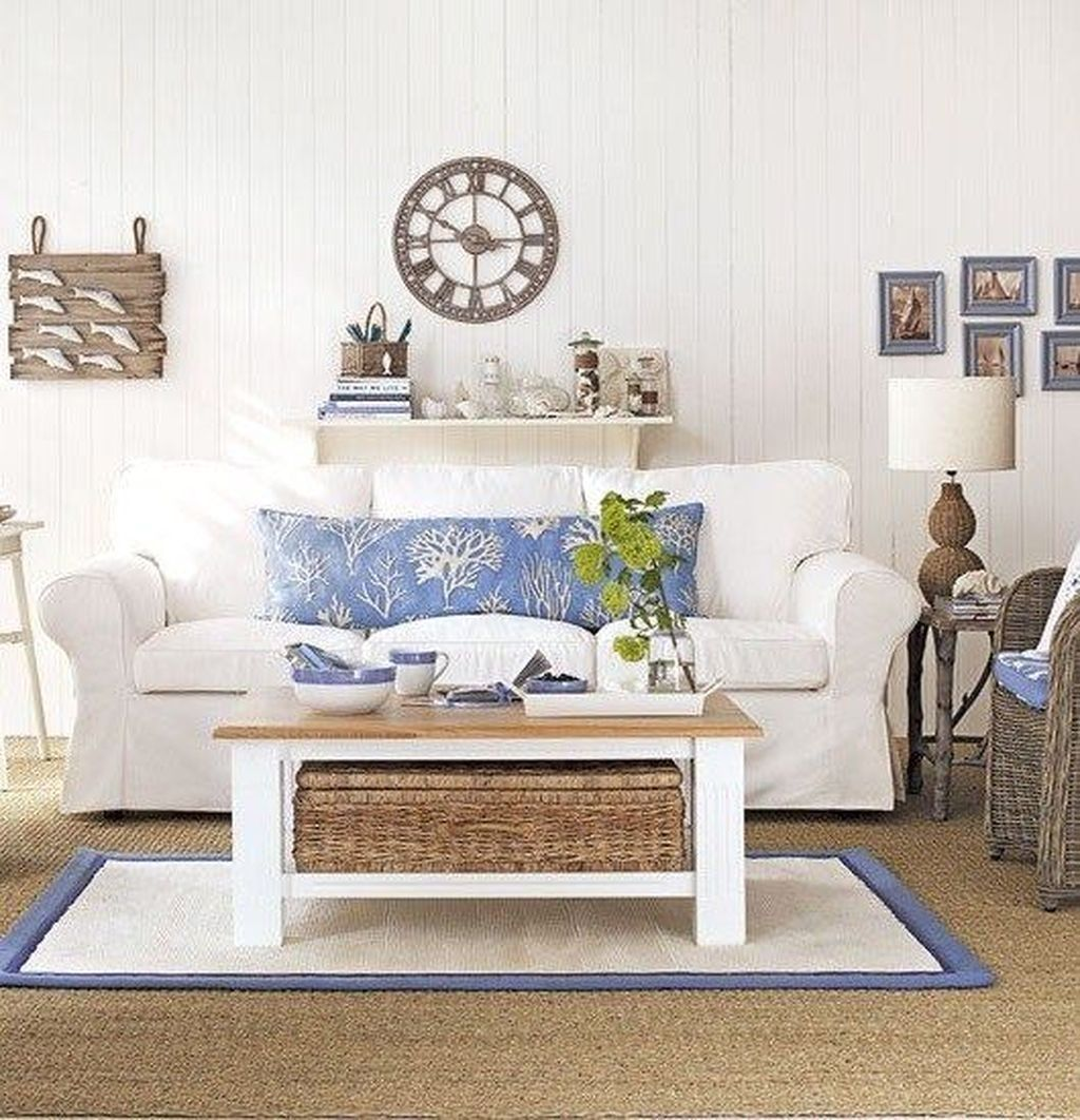 66 Beautiful Coastal Themed Living Room Decorating Ideas To Makes ...