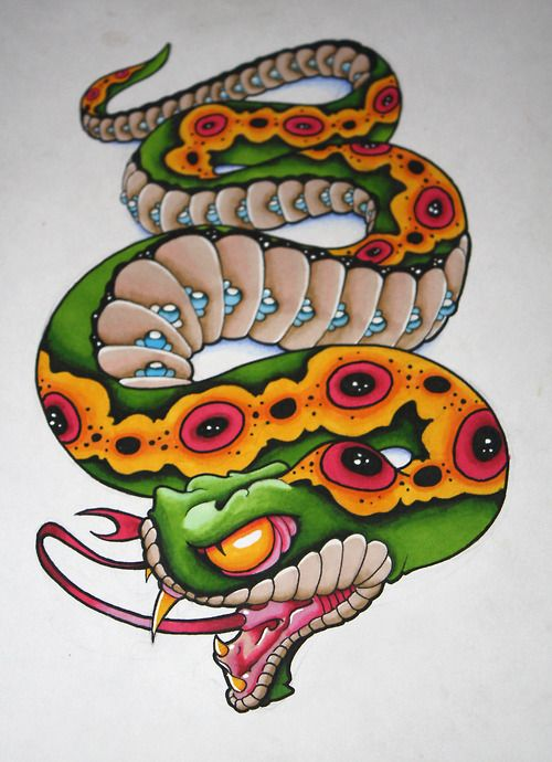 Neo Traditional Snake Tattoo Pictures