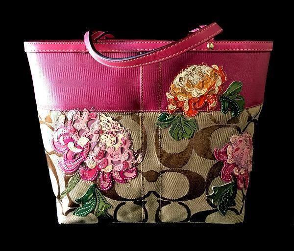 Coach Signature Khaki C Pink Stripe Flower Floral Medium Tote Shoulder Bag  Purse  Coach  HandbagPurseShoulderBagTote 1fbe2f641056c
