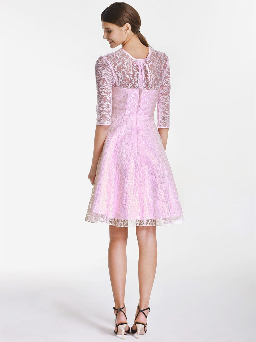 Pink Lace Bridesmaid Dress Elbow Sleeves | Style Your Bridesmaids ...