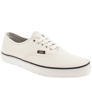 Men's White Vans Authentic Leather Trainers | schuh