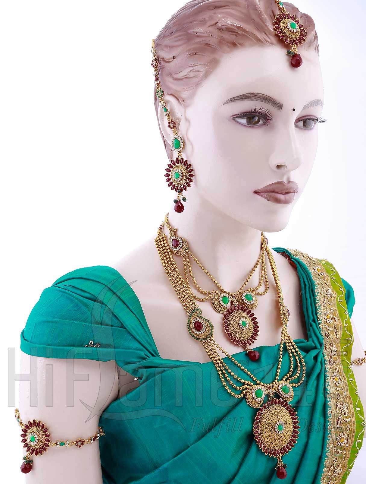 wedding jewellery set with triple strands of gold beads | indian