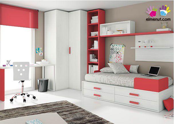 Dormitorio juvenil compacto tarima y armario novedades for Armario esquinero juvenil