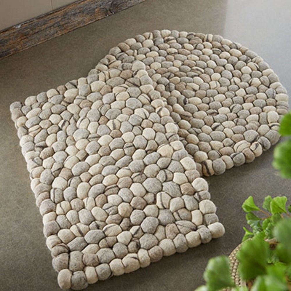 Felted Wool Pebble Indoor Outdoor Rug Round Vivaterra Stone Rug Felt Diy Natural Area Rugs