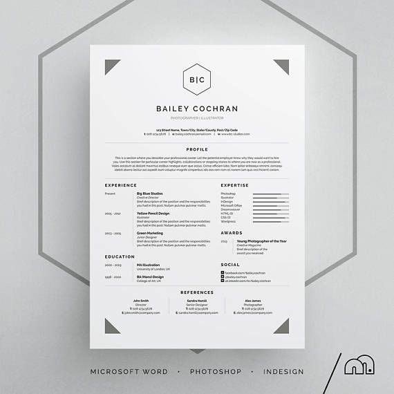 Cv Template Bailey ResumeCv Template  Word  Photoshop  Indesign