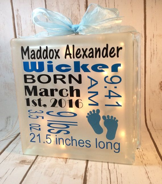 Birth announcement 6x6 glass block nursery decor personalize baby birth announcement glass block nursery by creationsbyjanicegif negle Gallery