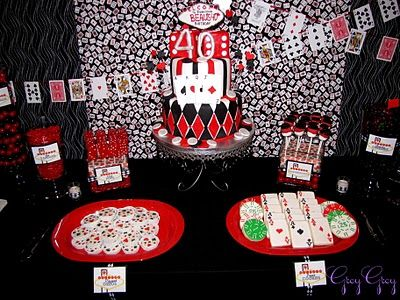 Double down for a 40th casino bday party red black white Lets