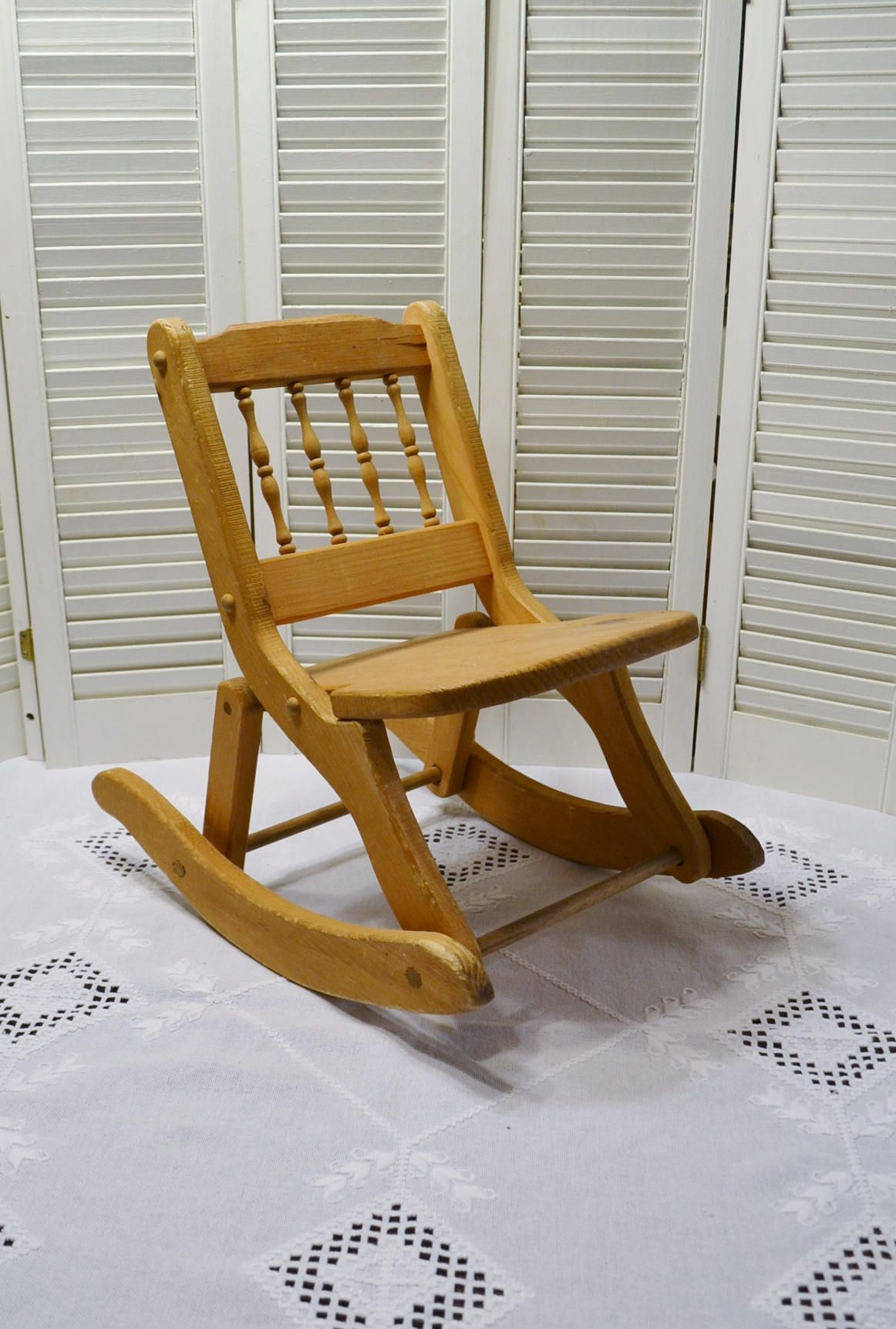 Vintage Childs Wooden Rocking Chair Folding Wood Rocker Childrens