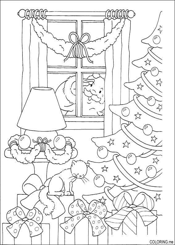 Coloring page : Christmas Santa Claus looking behind windows ...