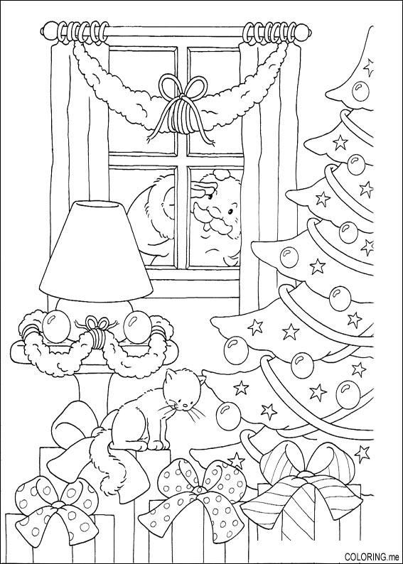 Coloring Page Christmas Santa Claus Looking Behind Windows