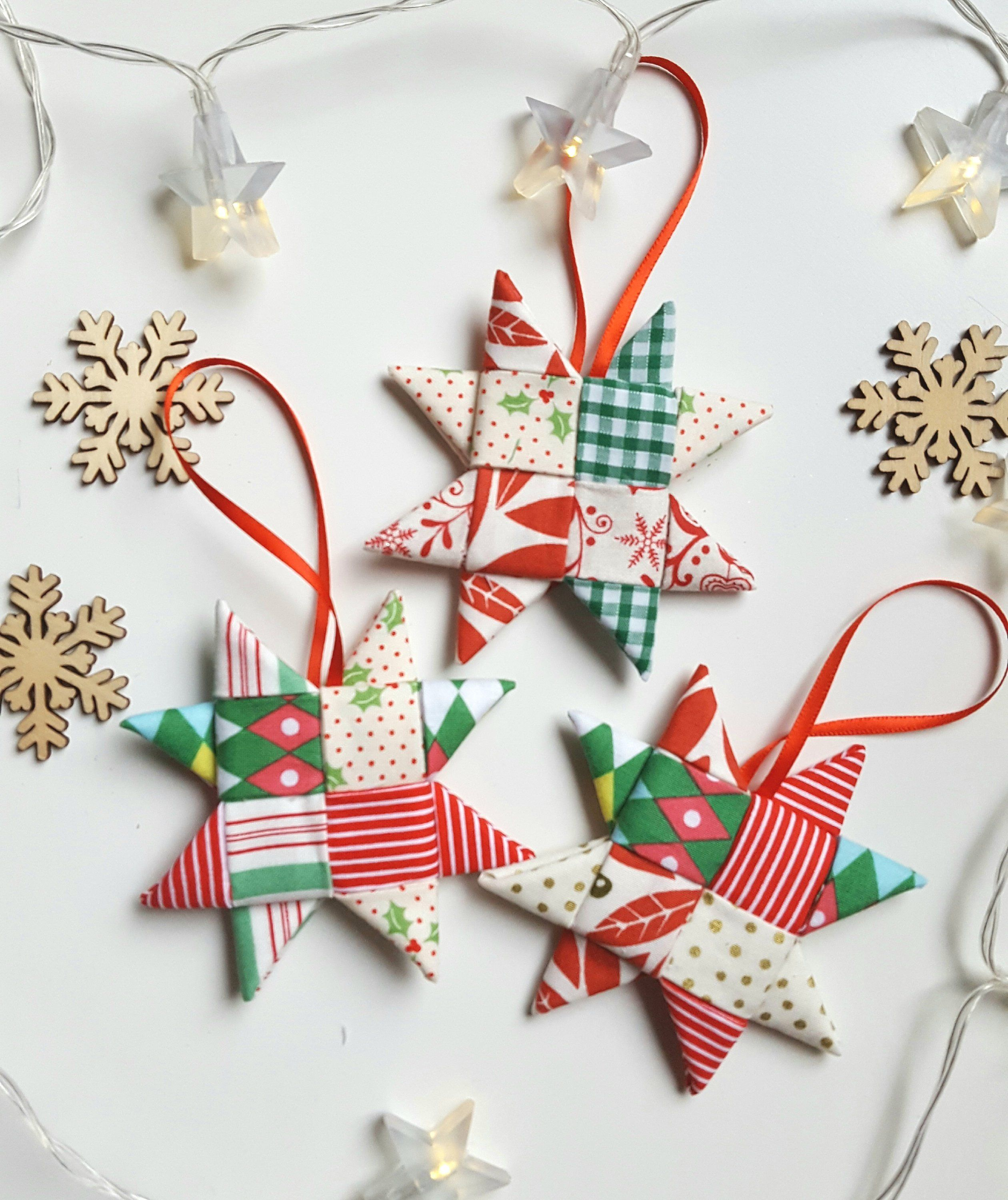 Christmas Decorations Fabric Tree Decorations Christmas Stars Set Of 3 Handmade Fabric Christm Fabric Tree Fabric Christmas Trees Christmas Tree Decorations