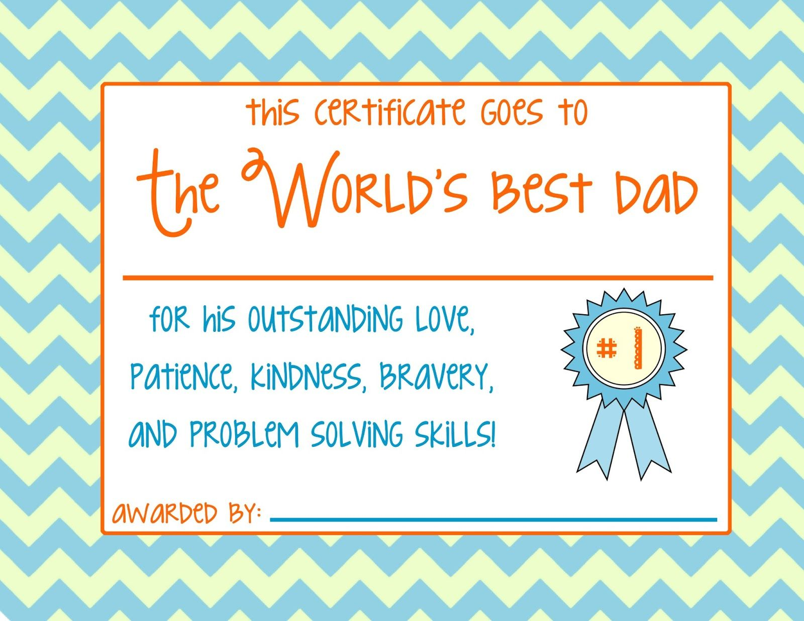 Fathers day certificate print gift certificate template