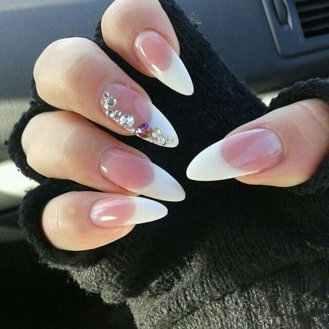 Round French Tip With Bling Pointy Nails Trendy Nails Fashion