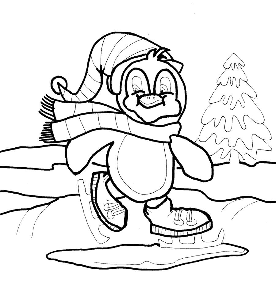 Baby Penguin Skating On Winter Coloring Page