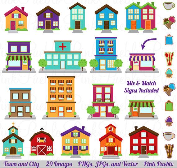 City Clipart Clip Art Printable House Village Town Clip Art Etsy Clip Art House Clipart House Drawing