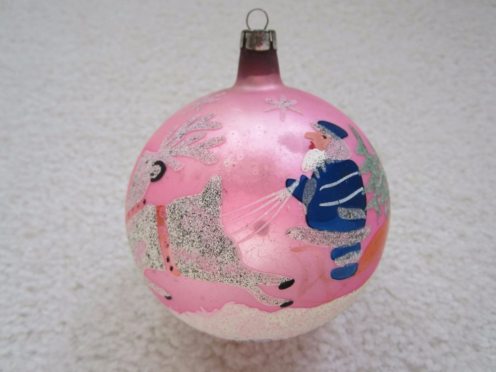 Antique Large POLAND PINK Glass Mica Christmas Ornament Santa Deer
