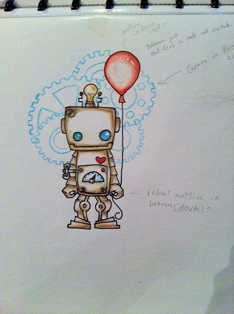 Robot Tattoo Design 1 Watercolor Kresby