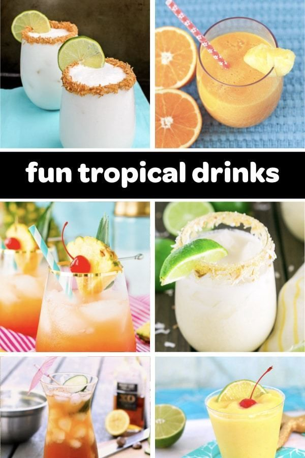 Easy Tropical Drink Recipes (11 Tasty Luau-Ready Cocktails) A list of easy tropical drink recipes perfect for a luau party! Try cocktails with pineapple, coconut, lime, rum, and passion fruit. Great for a Hawaiian Party or any summer party that calls for tasty mocktails and drinks! |