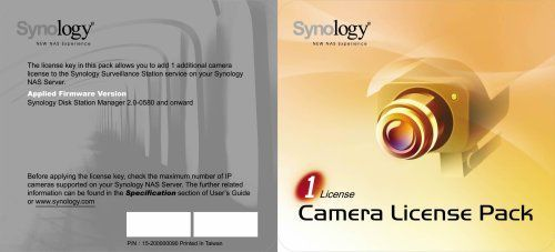 cool Synology IP Camera License Pack for 1 (CLP1) | Amazon | IP