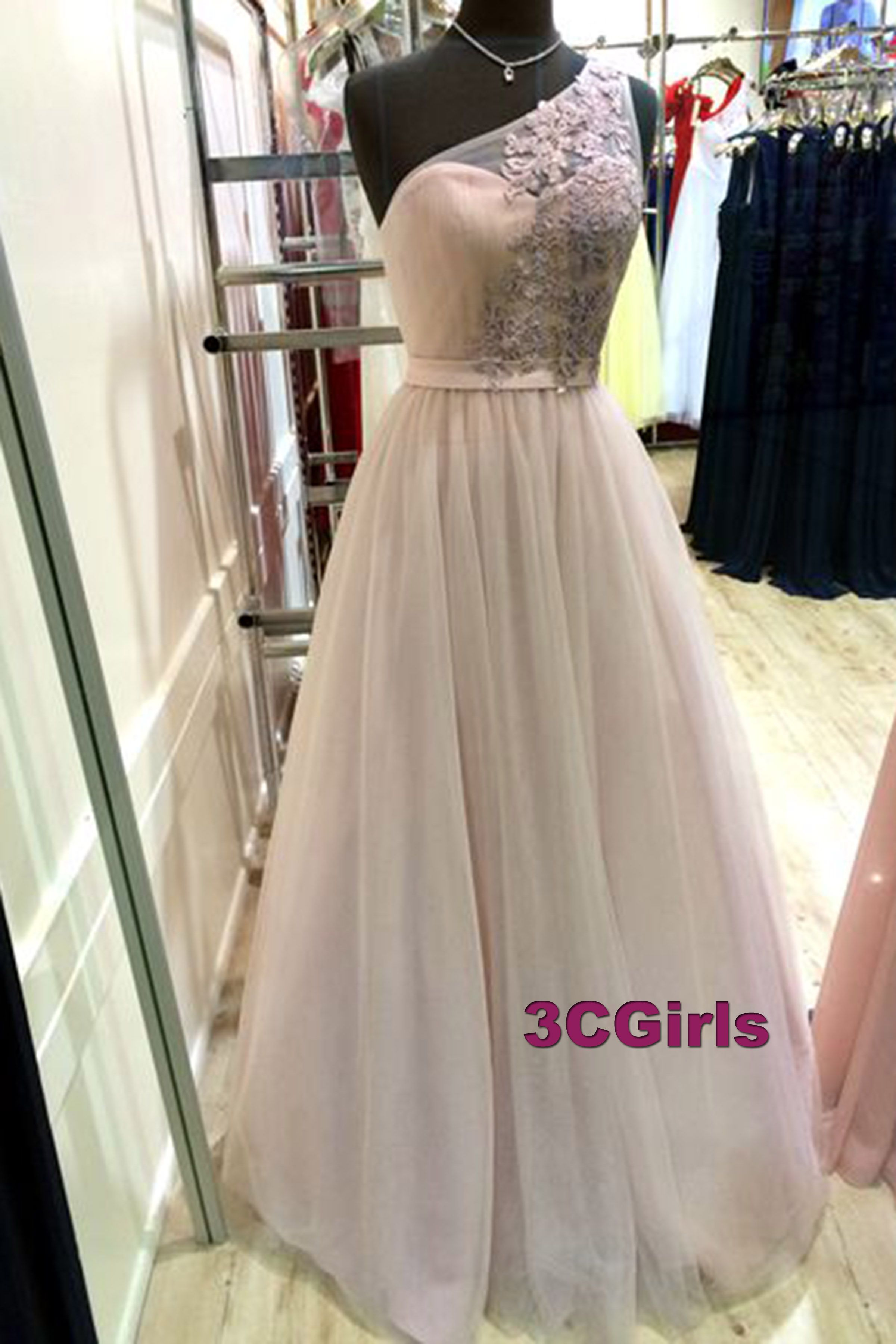 One shoulder prom dress tulle prom dress long prom dress