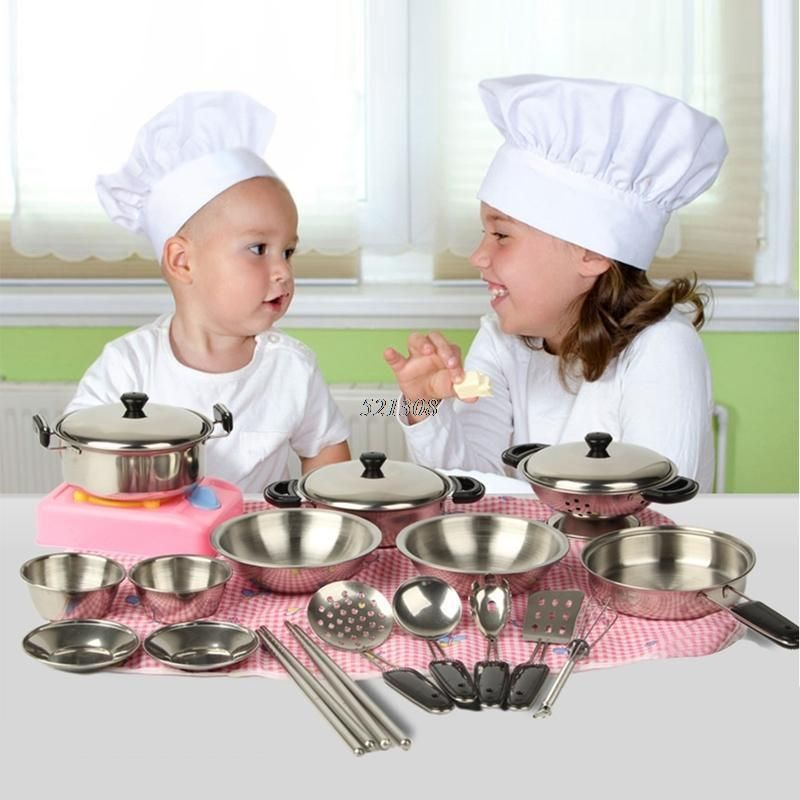 Ootdty 2017 Stainless Steel Pots Pans Cookware Miniature Toy Pretend Play Gift For Kid 20pcs Toy Kitchen Utensils Cooking Toys Toy Kitchen Set