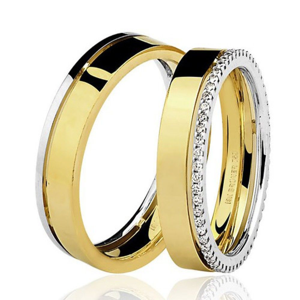 25f0b6d8741 Par de Alianças Bodas de Prata com Diamantes