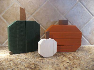 2x4 Scrap Wood Cute Gourd And Pumpkin Trio