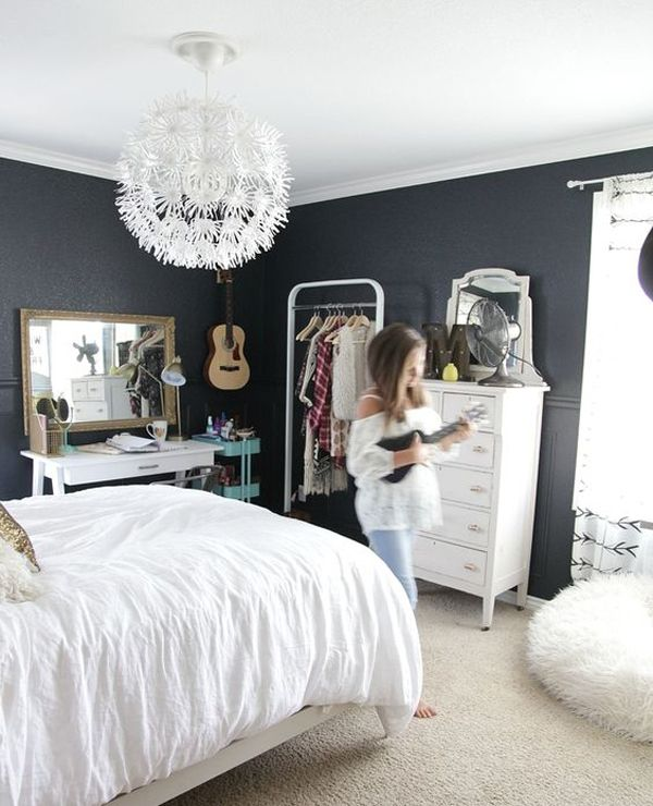 awesome black paint ideas and girl diy room most teen decor bedroom girls white no curtains for