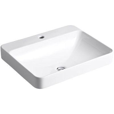 Kohler Vox Rectangle Vessel Above-Counter Bathroom Sink with Single