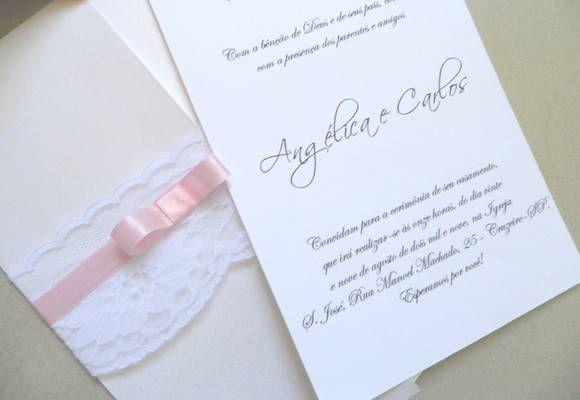 Convite Simples Com Renda Elo7 To My Wedding