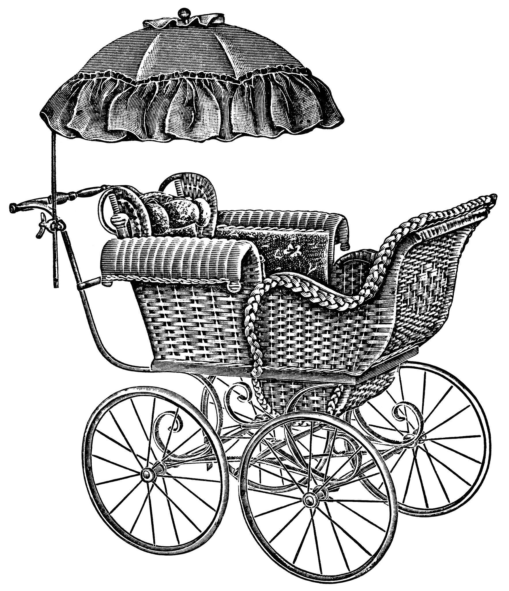 Baby Carriage Pram 2 ~ Free Vintage Clip Art