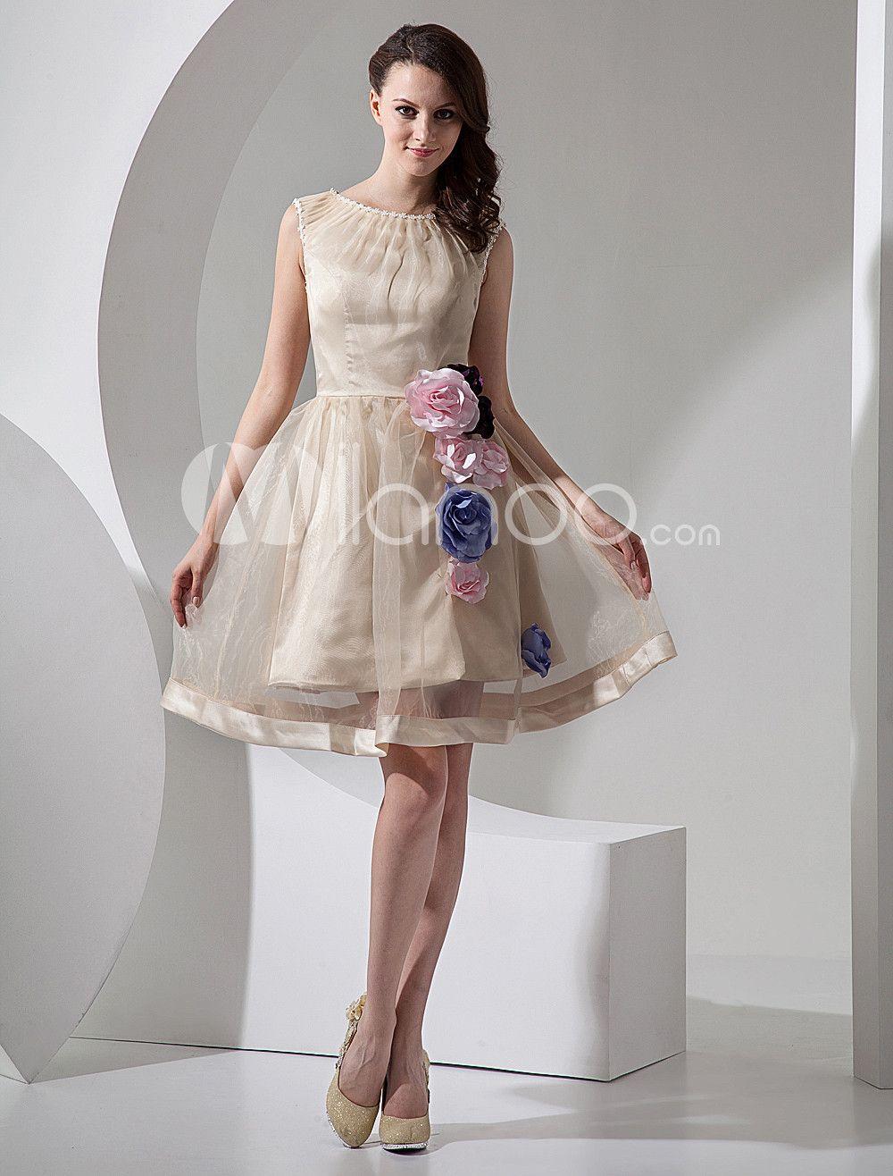Mini wedding dresses  Champagne Aline Short Organza Mini Wedding Dress  Mini wedding
